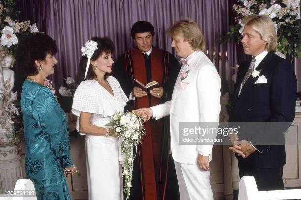 Actress Joan Collins married former Swedish rock star Peter Holm in a private ceremony at the Little White Wedding Chapel on the Las Vegas Strip in...