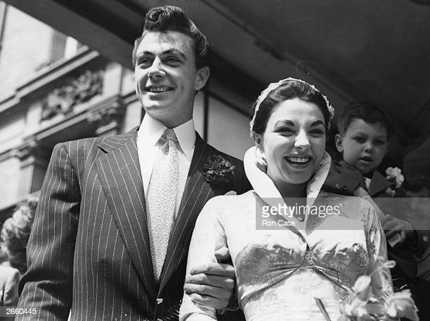 Actress Joan Collins on the day of her wedding to husband actor Maxwell Reed