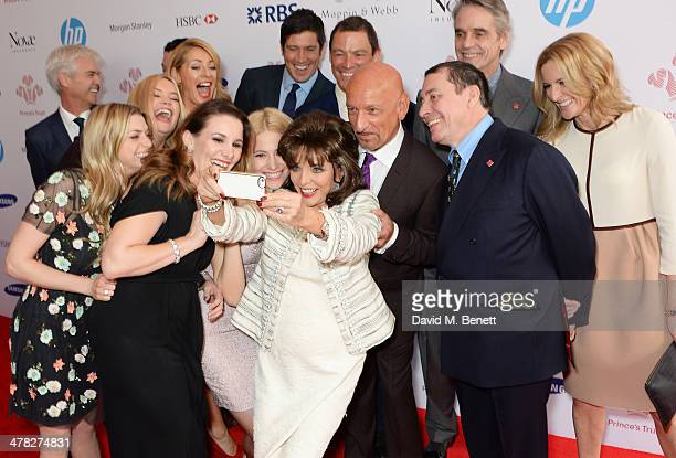 Actress Joan Collins takes a selfie with fellow guests including Phillip Schofield Anna Williamson Laura Whitmore Tess Daly Sam Bailey Pixie Lott...