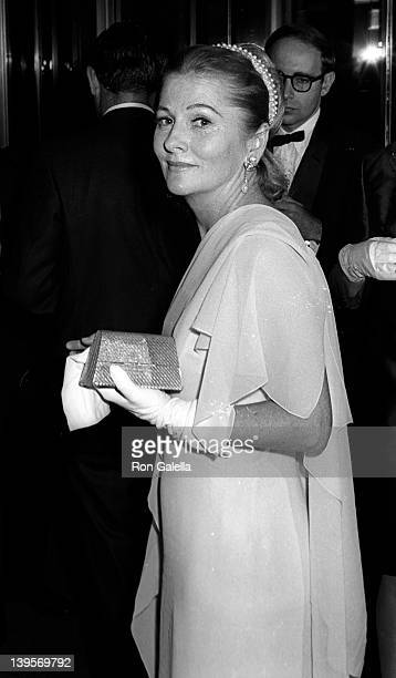 Actress Joan Fontaine attend the opening party for Marlene Dietrich on October 9 1967 at the Rainbow Room at Rockefeller Center in New York City