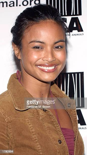 Actress Joanna Bacalso attends the Last Chance For Animals fundraiser party on February 12 2003 in Los Angeles California The event benefits National...