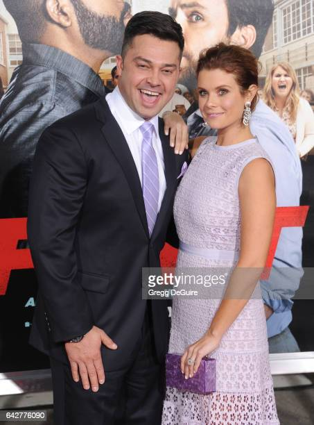 Actress JoAnna Garcia Swisher and husband Nick Swisher arrive at the premiere of Warner Bros Pictures' 'Fist Fight' at Regency Village Theatre on...