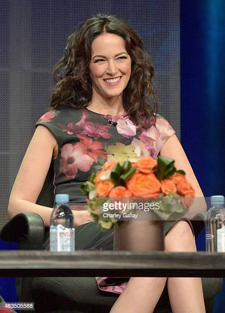 Actress Joanna Going speaks onstage during the DIRECTV's presentation of KINGDOM at the 2015 Summer TCA Press Tour at The Beverly Hilton Hotel on...