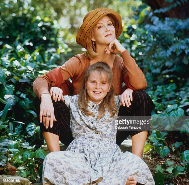 Actress Joanna Kerns sitting on outdoor steps with her daughter Ashley