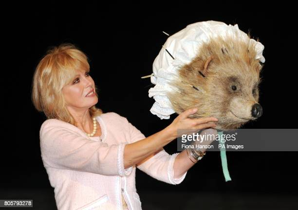 Actress Joanna Lumley after wearing the costume head of Mrs Tiggywinkle from the Tales of Beatrix Potter at the Royal Opera House in London to...