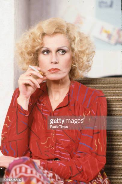 Actress Joanna Lumley in a scene from episode 'Magazine' of the BBC television sitcom 'Absolutely Fabulous', March 17th 1992.