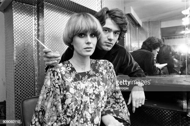 Actress Joanna Lumley models her 'Purdey' haircut with its creator hairdresser John Frieda January 1977