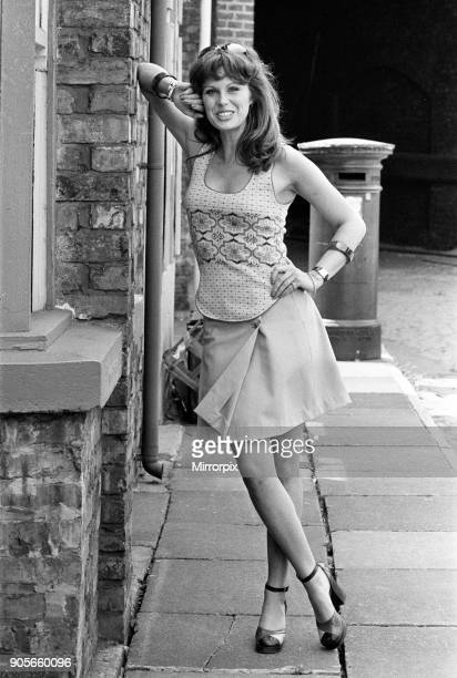 Actress Joanna Lumley pictured on the set of Coronation Street 5th July 1973