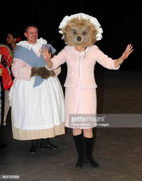 Actress Joanna Lumley wears the costume head of Mrs Tiggywinkle from the Tales of Beatrix Potter at the Royal Opera House in London to announce a...