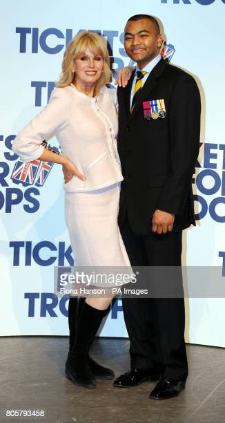Actress Joanna Lumley with Lance Corporal Johnson Beharry VC at the Royal Opera House in London to announce a special Valentine's Day family...