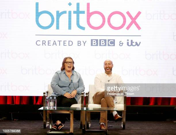 Actress Joanna Scanlan and Shayne Allen of the television show Hold the Sunset for the BritBox Network speak during the Summer 2018 Television...