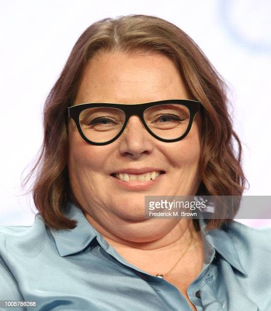 Actress Joanna Scanlan of the television show Hold the Sunset for the BritBox Network speaks during the Summer 2018 Television Critics Association...