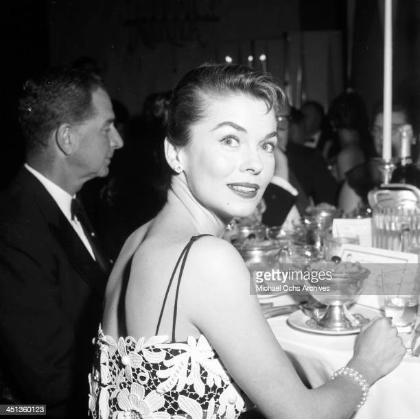 Actress Joanne Dru attends a dinner party in Los Angeles California
