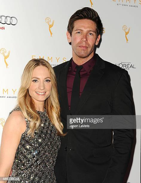 Actress Joanne Froggatt and husband James Cannon attend the Television Academy's celebration for the 67th Emmy Award nominees for outstanding...