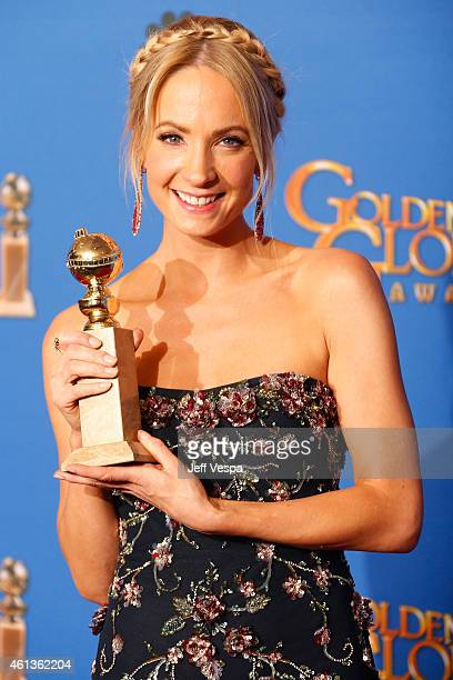 Actress Joanne Froggatt poses in the press room during the 72nd Annual Golden Globe Awards at The Beverly Hilton Hotel on January 11 2015 in Beverly...