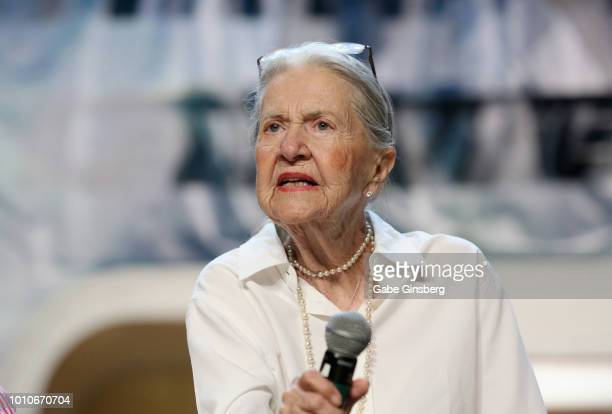 Actress Joanne Linville speaks at the Guest Stars of the Original Series Part 2 panel during the 17th annual official Star Trek convention at the Rio...