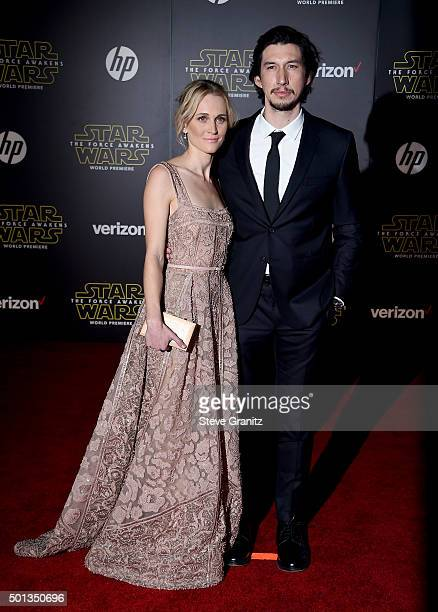 Actress Joanne Tucker and actor Adam Driver arrive at the premiere of Walt Disney Pictures' and Lucasfilm's Star Wars The Force Awakens at the Dolby...