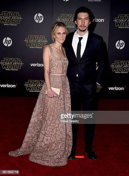 """Actress Joanne Tucker and actor Adam Driver arrive at the premiere of Walt Disney Pictures' and Lucasfilm's """"Star Wars: The Force Awakens"""" at the..."""