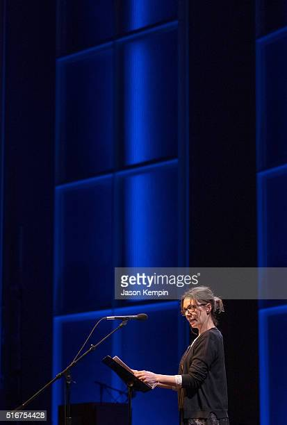 Actress Joanne Whalley reads during Selected Shorts 2016: Dangers And Discoveries at the Getty Center on March 20, 2016 in Los Angeles, California.
