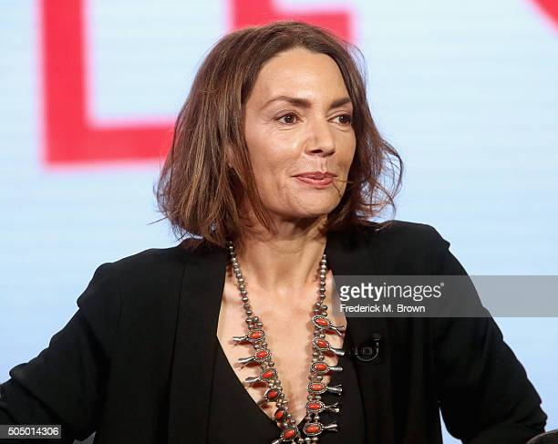 Actress Joanne Whalley speaks onstage during the 'Beowulf' panel discussion at the NBCUniversal portion of the 2016 Winter TCA Tour at Langham Hotel...