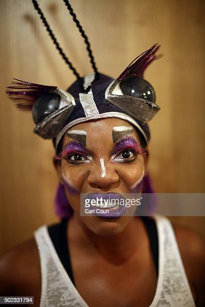Actress Jocelyn Jee Esien poses for a photograph before perfmorning as Stomach Bug in Jack and the Beanstalk at Hackney Empire on December 22 2015 in...