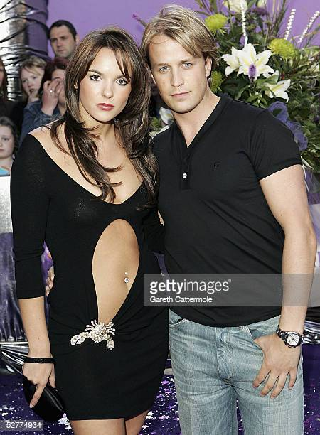 Actress Jodi Albert and boyfriend singer Kian Egan of Westlife arrive at the British Soap Awards 2005 at BBC Television Centre on May 7 2005 in...