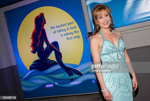 Actress Jodi Benson the voice of Ariel in the 1989 film arrives at the opening night of The Little Mermaid on Broadway at the LuntFontanne Theater on...