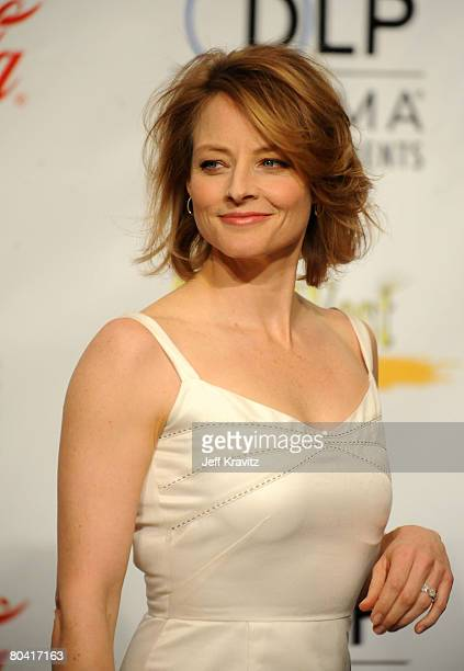 Actress Jodi Foster attends the press conference for the final night banquet and awards ceremony at ShoWest 2008 at The Paris Hotel and Casino on...