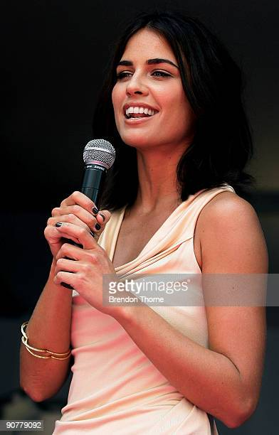 Actress Jodi Gordon addresses the audience during the launch of the Crystelle Lingerie range at the Cosmopolitan Fashion Cafe as part of 30 Days of...