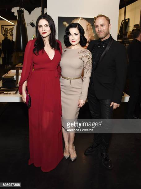 Actress Jodi Lyn O'Keefe burlesque dancer Dita Von Teese and MAC Cosmetics senior makeup artist Gregory Arlt attend the launch of Dita Von Teese and...