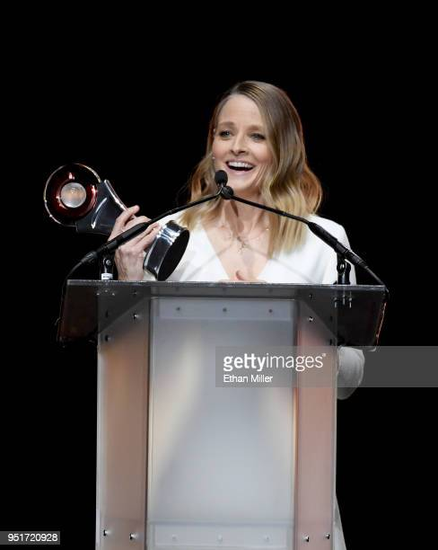 Actress Jodie Foster accepts the Lifetime Achievement Award onstage during the CinemaCon Big Screen Achievement Awards brought to you by the CocaCola...