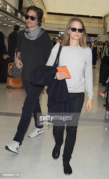 Actress Jodie Foster and Alexandra Hedison are seen upon arrival at Narita International Airport on May 31 2016 in Narita Japan
