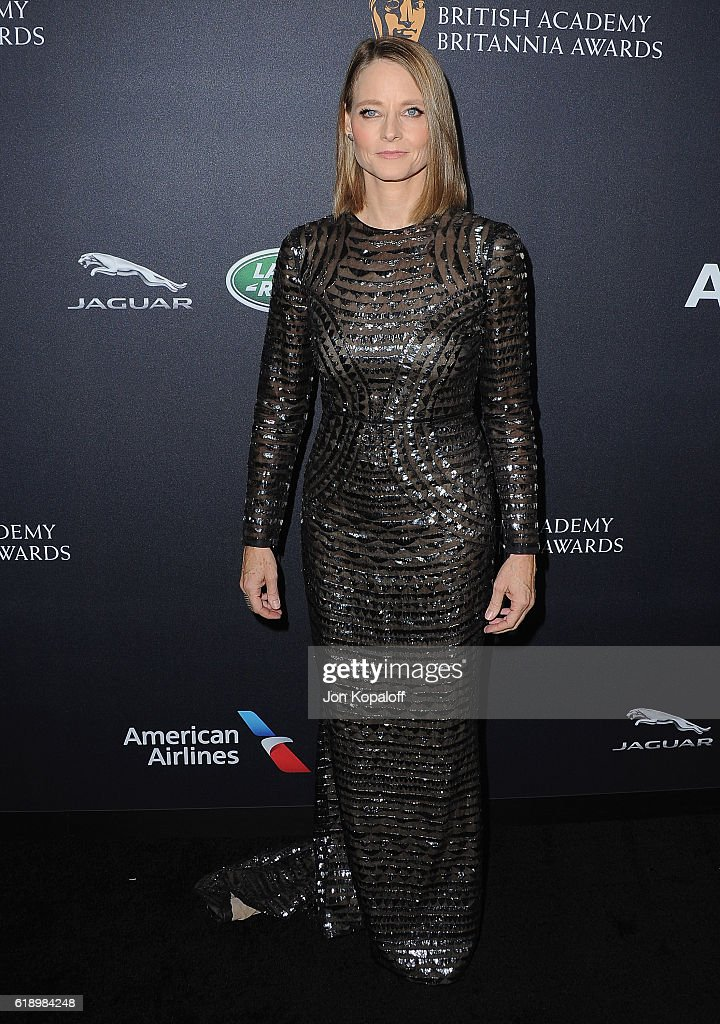 Actress Jodie Foster arrives at the 2016 AMD British Academy Britannia Awards Presented by Jaguar Land Rover And American Airlines at The Beverly Hilton Hotel on October 28, 2016 in Beverly Hills, California.