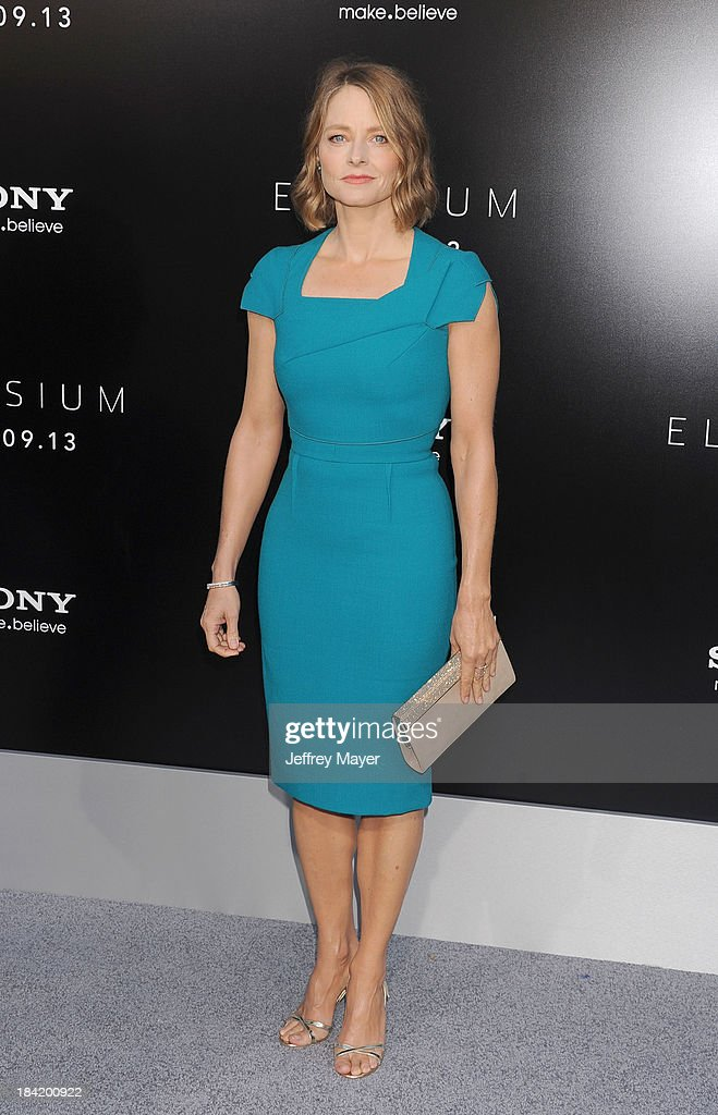 Actress Jodie Foster arrives at the Los Angeles premiere of 'Elysium' at Regency Village Theatre on August 7, 2013 in Westwood, California.