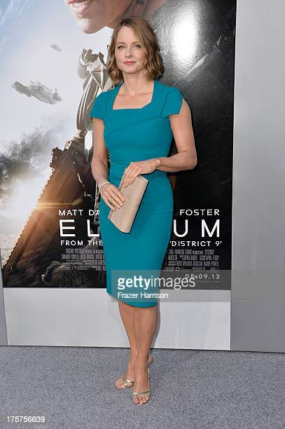 Actress Jodie Foster arrives at the premiere of TriStar Pictures' Elysium at Regency Village Theatre on August 7 2013 in Westwood California