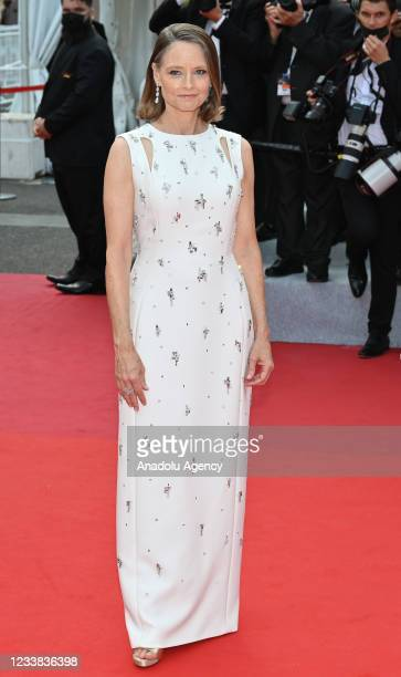 Actress Jodie Foster arrives for the screening of the film 'Annette' in competition and the Opening Ceremony of the 74th annual Cannes Film Festival...