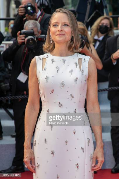 """Actress Jodie Foster attends the """"Annette"""" screening and opening ceremony during the 74th annual Cannes Film Festival on July 06, 2021 in Cannes,..."""