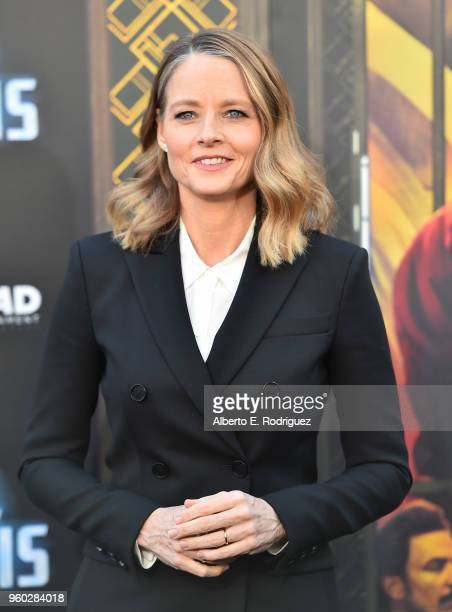 "Actress Jodie Foster attends the premiere of Global Road Entertainment's ""Hotel Artemis"" at Regency Village Theatre on May 19, 2018 in Westwood,..."