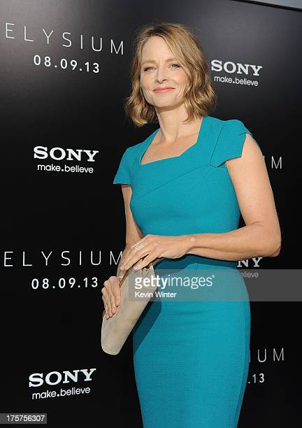 Actress Jodie Foster attends the premiere of TriStar Pictures' Elysium at Regency Village Theatre on August 7 2013 in Westwood California