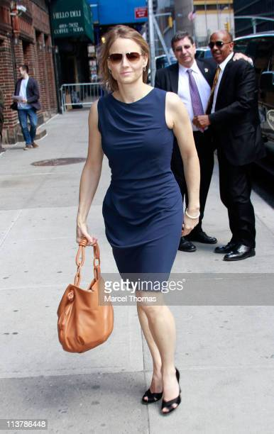 "Actress Jodie Foster is seen arriving at the ""Late Show With David Letterman"" at the Ed Sullivan Theater on May 5, 2011 in New York City."