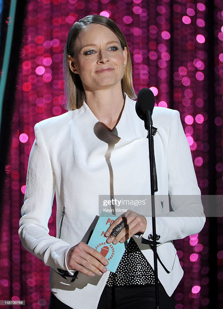 Actress Jodie Foster presents an award onstage during the 2012 MTV Movie Awards held at Gibson Amphitheatre on June 3, 2012 in Universal City, California.