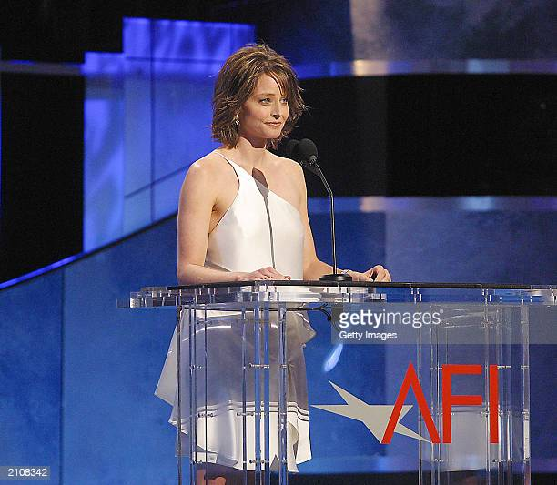 Actress Jodie Foster speaks at the American Film Institute's Lifetime Achievement Awards June 12 2003 at the Kodak Theater in Hollywood California...