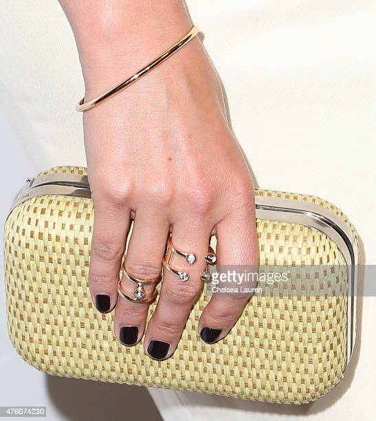Actress Jodie Sweetin clutch and jewelry detail attends the 'Cool Comedy Hot Cuisine to benefit the Scleroderma Research Foundation at the Beverly...