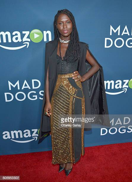 Actress Jodie TurnerSmith attends the red carpet premiere screening of Amazon original series Mad Dogs at Pacific Design Center on January 20 2016 in...