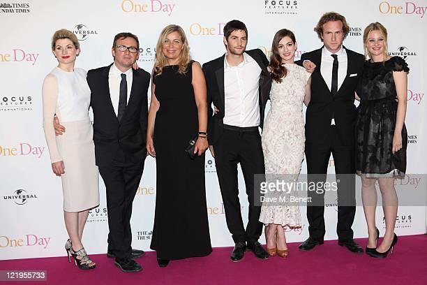Actress Jodie Whittaker screenwriter David Nicholls director Lone Scherfig actors Jim Sturgess Anne Hathaway Rafe Spall and Romola Garai attend the...