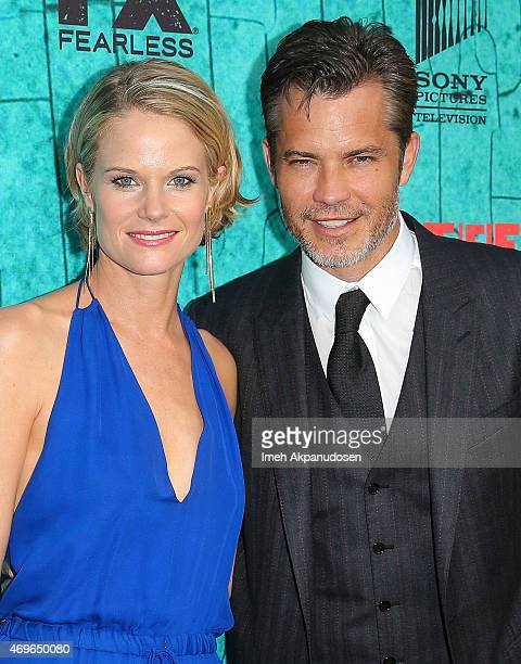 Actress Joelle Carter and actor Timothy Olyphant attend the premiere of FX's 'Justified' series finale at ArcLight Cinemas Cinerama Dome on April 13,...