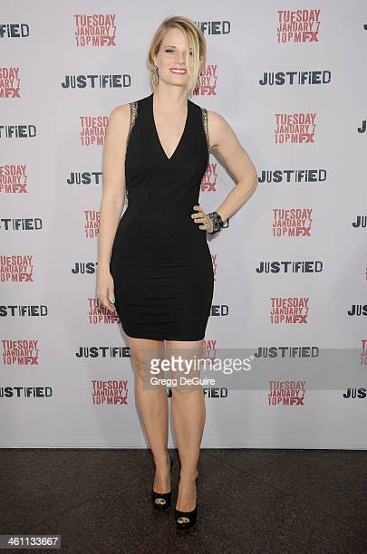 Actress Joelle Carter arrives at the Los Angeles premiere of FX Justified at DGA Theater on January 6 2014 in Los Angeles California
