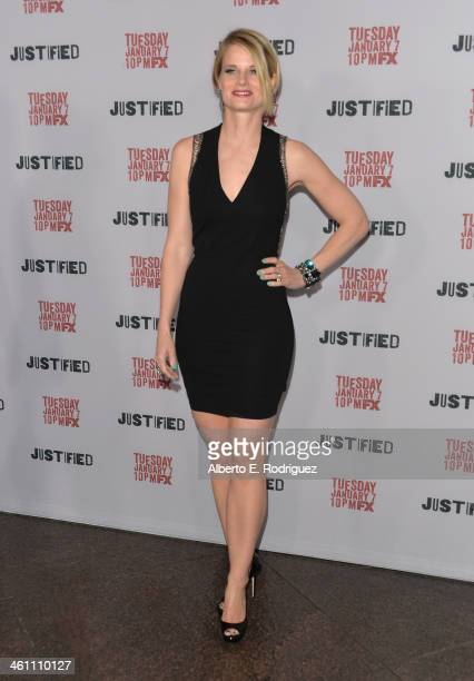 Actress Joelle Carter arrives to the Season 5 premiere of FX's Justified at DGA Theater on January 6 2014 in Los Angeles California