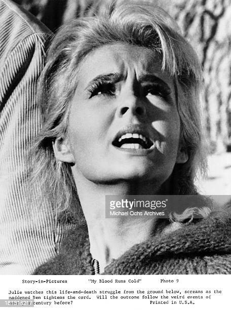 Actress Joey Heatherton on set of the Warner Bros movie My Blood Runs Cold in 1965
