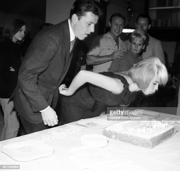Actress Joey Heatherton with John Ashley at her birthday party in Los Angeles California